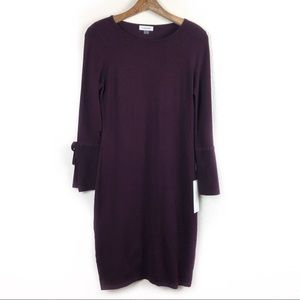 Calvin Klein NWT Bell Sleeve Purple Dress Medium